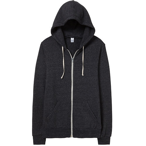 ALTERNATIVE APPAREL ROCKY ECO BLACK FLEECE ZIP HOODIE