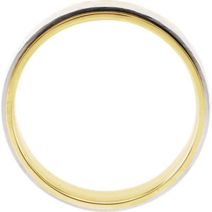 14K Yellow & White 6mm Hammered Band Size 9