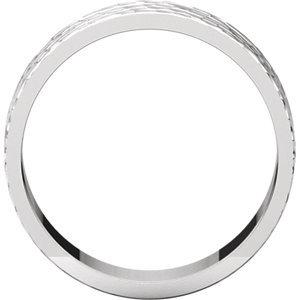 14K White 6mm Flat Band with Hammer Finish  Size 11