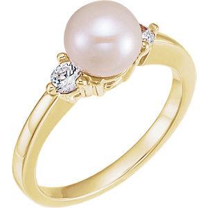 14K Yellow Akoya Cultured Pearl & 1/6 CTW Diamond Ring