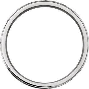14K White 5mm Design-Engraved Band Size 7