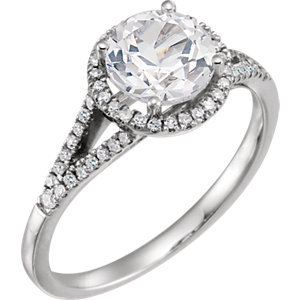 14K White Created White Sapphire & 1/6 CTW Diamond Ring