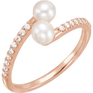 14K Rose Freshwater Cultured Pearl & 1/6 CTW Diamond Bypass Ring