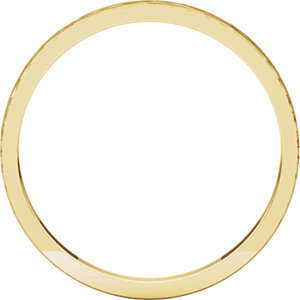 14K Yellow 2mm Flat Band with Hammer Finish  Size 7