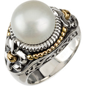 Sterling Silver & 14K Yellow Freshwater Cultured Pearl Ring Size 8