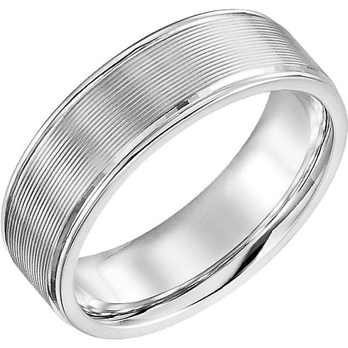 14K White 6mm Duo Grooved Design Band Size 7.5