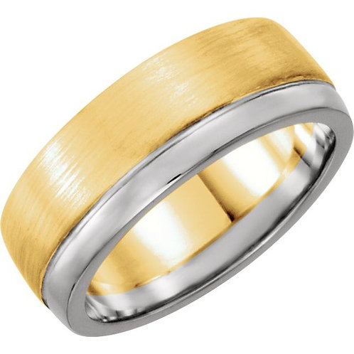 14K White & Yellow 6.75mm Men's Band