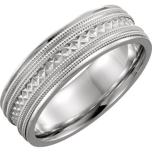 Platinum 6mm Design-Engraved Band Size 7