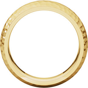 14K Yellow 6mm Comfort-Fit Hammer Finish Band Size 11
