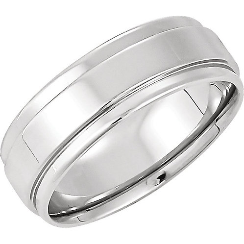 14K White 7.5mm Flat Edge Comfort-Fit Band Size 9.5