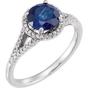 14K White Created Blue Sapphire & 1/6 CTW Diamond Ring