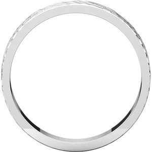 14K White 4mm Flat Band with Hammer Finish  Size 7