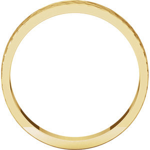 14K Yellow 4mm Flat Band with Hammer Finish  Size 7
