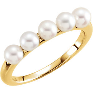 14K Yellow 4-4.5mm Five-Stone Pearl Ring
