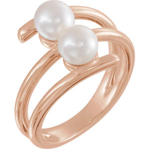 14K Rose Freshwater Cultured Pearl Ring