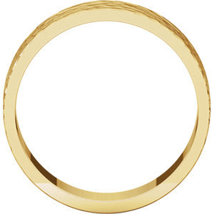 14K Yellow 6mm Flat Band with Hammer Finish  Size 7