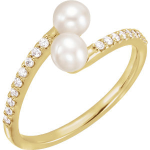 14K Yellow Freshwater Cultured Pearl & 1/6 CTW Diamond Bypass Ring