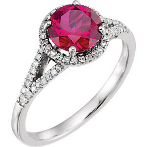 14K White Created Ruby & 1/6 CTW Diamond Ring