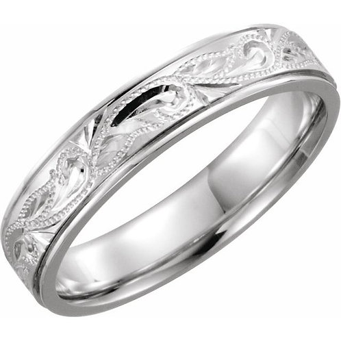 Platinum 5mm Design-Engraved Band Size 7