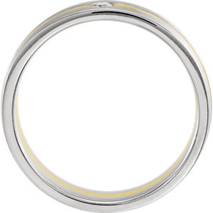 14K White & Yellow .07 CTW Diamond 6mm Grooved Comfor-Fit Band Size 11
