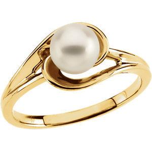 14K Yellow Akoya Cultured Pearl Ring