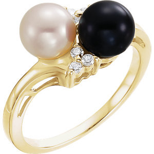 14K Yellow Akoya Cultured Black & White Pearl & 1/10 CTW Diamond Ring