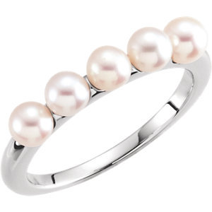 14K White 4-4.5mm Five-Stone Pearl Ring