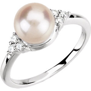 14K White 7.5-8mm Freshwater Cultured Pearl & 1/8 CTW Diamond Ring