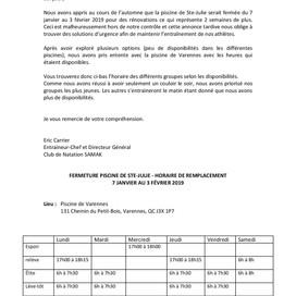 Fermeture de la piscine de Ste-Julie 7 janvier au 3 février 2019