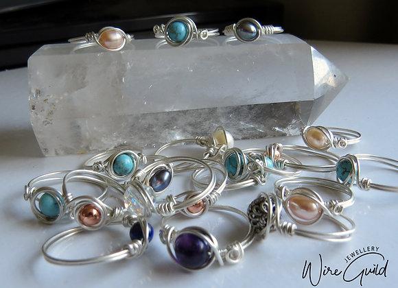 Simple Silver Bead Rings