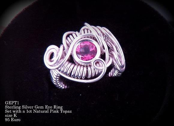 Pink Topaz Gem Eye Ring