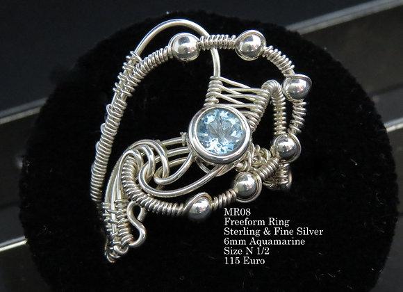 Freeform Aquamarine Ring
