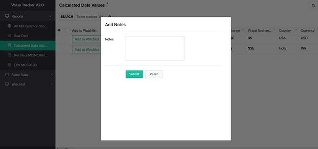 value tracker add notes screenshots