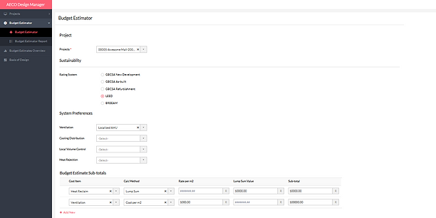 aeco budget screenshot