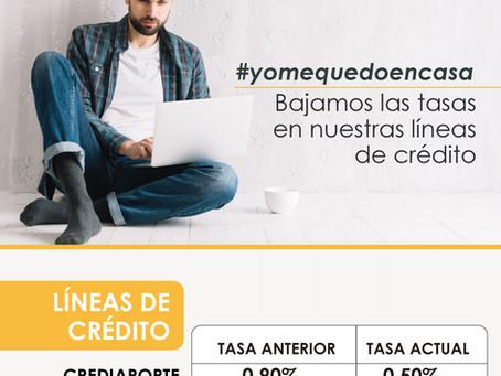 CAMBIO DE TASAS  EN LAS SIGUIENTES LÍNEAS DE CRÉDITO