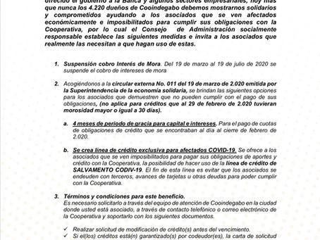 MEDIDAS TOMADAS POR COOINDEGABO DEBIDO A LA EMERGENCIA PROVOCADA POR EL COVID-19