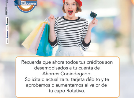 TARJETA DÉBITO COOINDEGABO - RED COOPCENTRAL
