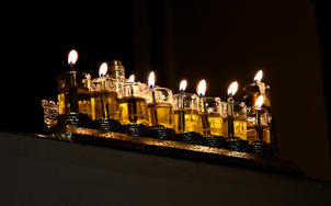 Fully lit menorah - side view