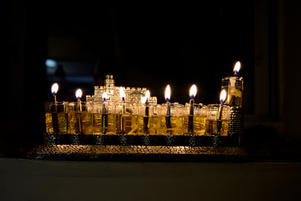 Fully lit menorah - front