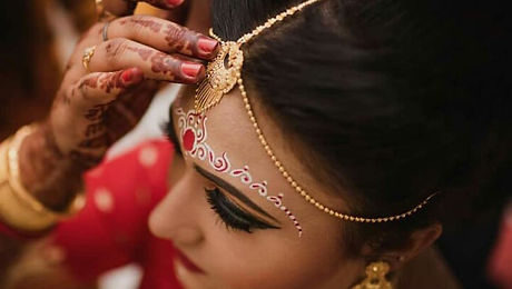 bridal make-up in a wedding party