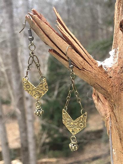 Brass Chevron Earings