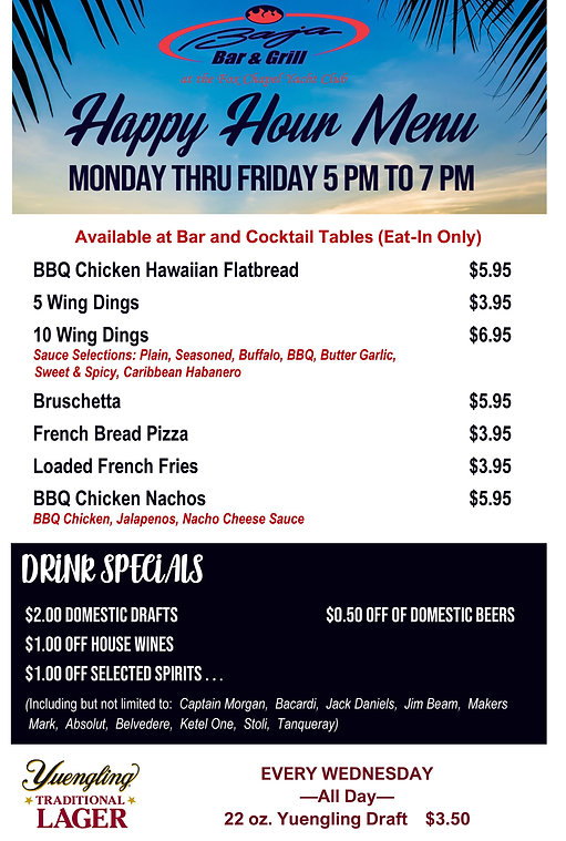 Happy Hour Food Menu