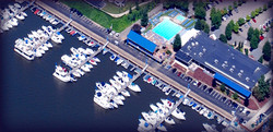 The Baja Bar and Grill at the Fox Chapel Yacht Club from the air.