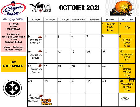 October 2021 Entertainment Schedule. Click to select and download.