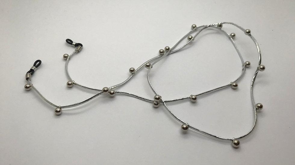 Cadena cordón sintético y perlas / gris