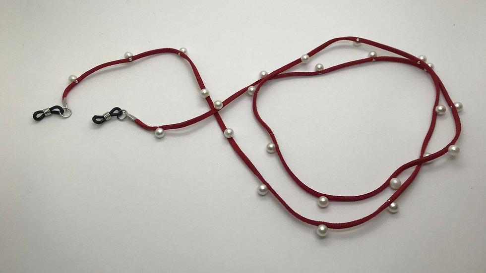 Cadena cuero sintético y perlas / rojo