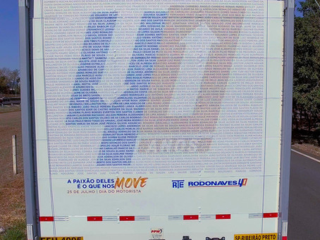 Caminhão com nomes de todos os motoristas da RTE Rodonaves circula pelo país em homenagem