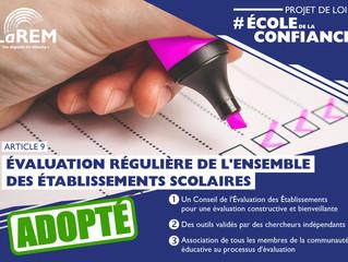 ECOLE DE LA CONFIANCE - Évaluation régulière de l'ensemble des établissements scolaires
