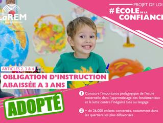 ECOLE DE LA CONFIANCE - L'obligation d'instruction est abaissée à 3 ans
