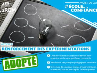ECOLE DE LA CONFIANCE - Modifications des conditions d'expérimentation pour les écoles et établissem